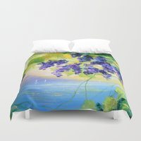 italy Duvet Covers featuring Grapes Italy by OLHADARCHUK