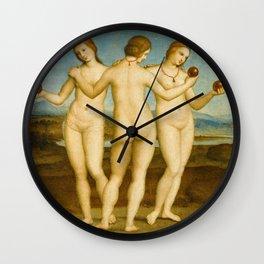 """Raffaello Sanzio da Urbino """"Three Graces"""", circa 1504-1505 Wall Clock"""