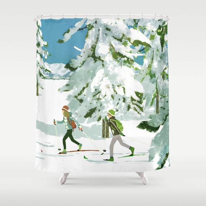 Cross Country Skiing Shower Curtain By Tatsurokiuchi
