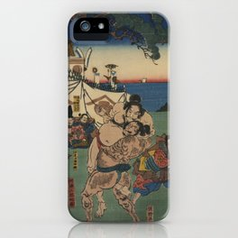 A game of Sumo Wrestling. iPhone Case
