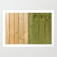 Green and white fence Art Print