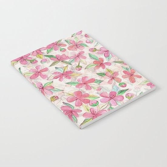 Pink Painted Blossom Pattern Notebook