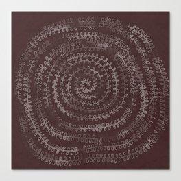 Circular Plants in Maroon Canvas Print