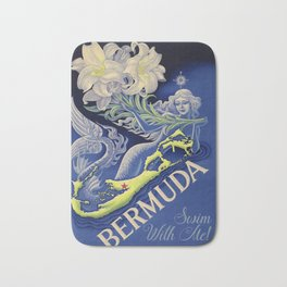 Vintage Mermaid Bermuda Bath Mat