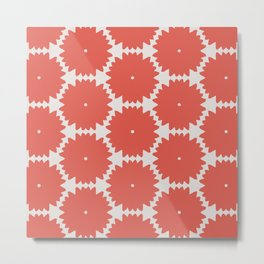 Red Stars of Christmas Pattern Geometric Abstract Metal Print
