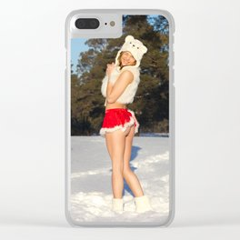 christmas girl Clear iPhone Case