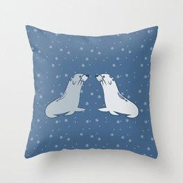 Winter Seals Throw Pillow