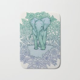 Emerald Elephant in the Lilac Evening Bath Mat