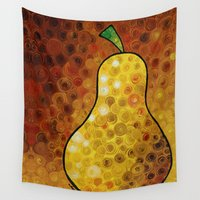 mandie manzano Wall Tapestries featuring Golden Pear - Warm inviting delicious Golden Pear by Labor of Love artist Sharon Cummings. by Sharon Cummings