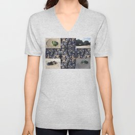 Cornwall Mussels and other Low Tide Beach Photo Composite Newquay Cornwall Unisex V-Neck