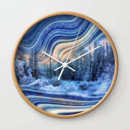 Surreal winter forest Wall Clock