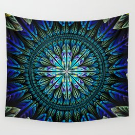 Blue fantasy flower and petals Wall Tapestry
