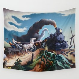 Classical Masterpiece 'Wreck of the Ol' 97' By Thomas Hart Benton Wall Tapestry
