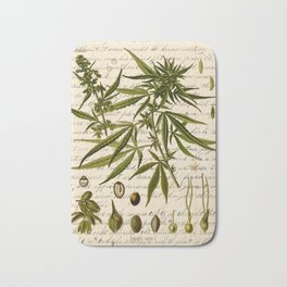 Marijuana Cannabis Botanical on Antique Journal Page Bath Mat