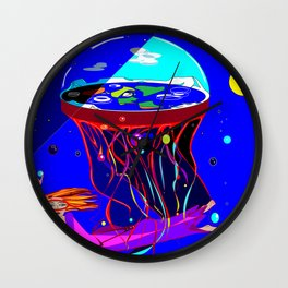 Spaceship Flat Earth Jellyfish Wall Clock