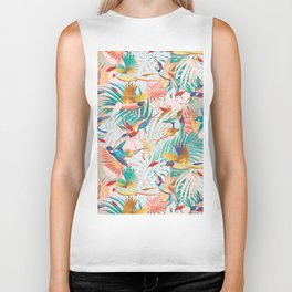 Colorful, Vibrant Paradise Birds and Leaves Biker Tank