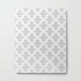 Hand-painted Quatrefoil Lattice Pattern, Beautiful Oil / Acrylic Paint Texture in Neutral Light Gray Color Metal Print