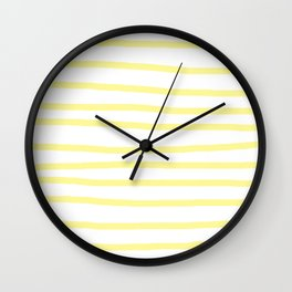 Simply Drawn Stripes in Pastel Yellow Wall Clock