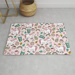 Pink Unicorn, Sweet Pink, Donuts and Frappuccino, Cute Emoji Print for Girls, Tween Decor Rug