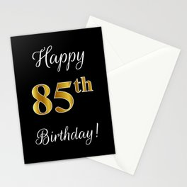 "Elegant ""Happy 85th Birthday!"" With Faux/Imitation Gold-Inspired Color Pattern Number (on Black) Stationery Cards"