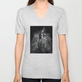 Black and white portrait-Sitting bull Unisex V-Neck