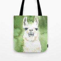 llama Tote Bags featuring Llama by Susan Windsor