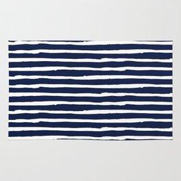 Navy Blue Stripes on White II Rug