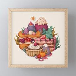 Sweet Hills. Pastry, desserts. Art for cafe, kitchen, bakery Framed Mini Art Print