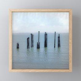 Tokeland, Willapa Bay, Washington Pier, River Pilings Framed Mini Art Print