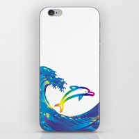 hokusai iPhone & iPod Skins featuring Hokusai Rainbow & dolphin_C by FACTORIE
