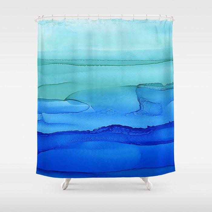 Alcohol Ink Seascape Shower Curtain By Klaraacel