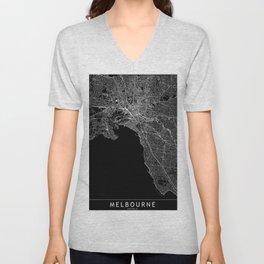 Melbourne Black Map Unisex V-Neck