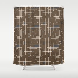 Intersecting Lines in Brown, Tan and Gray Shower Curtain