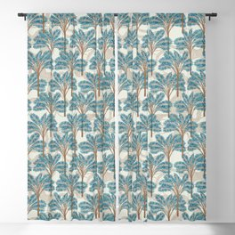 Exotic Palms No. 001 / Tropical Plants in Turquoise Blackout Curtain