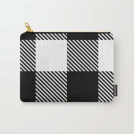 Black White Buffalo Plaid with Twill Carry-All Pouch