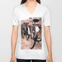 bikes V-neck T-shirts featuring Amsterdam Bikes by Ann Yoo