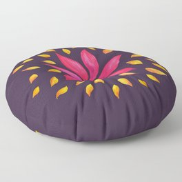 Whimsical Watercolor Flower In Pink And Purple Floor Pillow