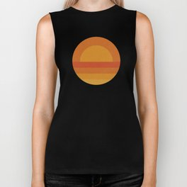 Retro Geometric Sunset Biker Tank
