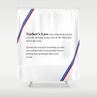 law Shower Curtains featuring Tucker's Law by brilliantbutton