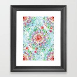 Messy Boho Floral in Rainbow Hues Framed Art Print