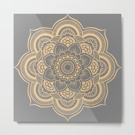 Mandala Flower Gray & Peach Metal Print
