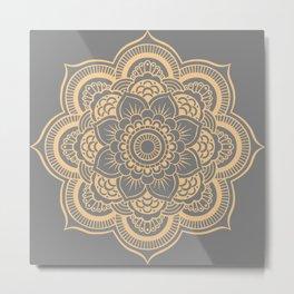 Mandala Flower Gray & Peach Metal Print