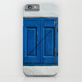BLUE WOODEN WINDOW GRILLE iPhone Case