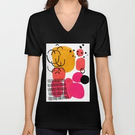 Modern Mid Century Fun Colorful Abstract Minimalist Painting Yellow Pink Bubble Candy Drops Unisex V-Neck
