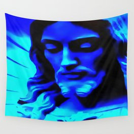 Blue Jesus Wall Tapestry