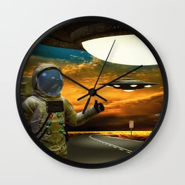 Hitchinghiking Across The Universe Wall Clock