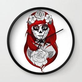 Santa Muerte Red Wall Clock