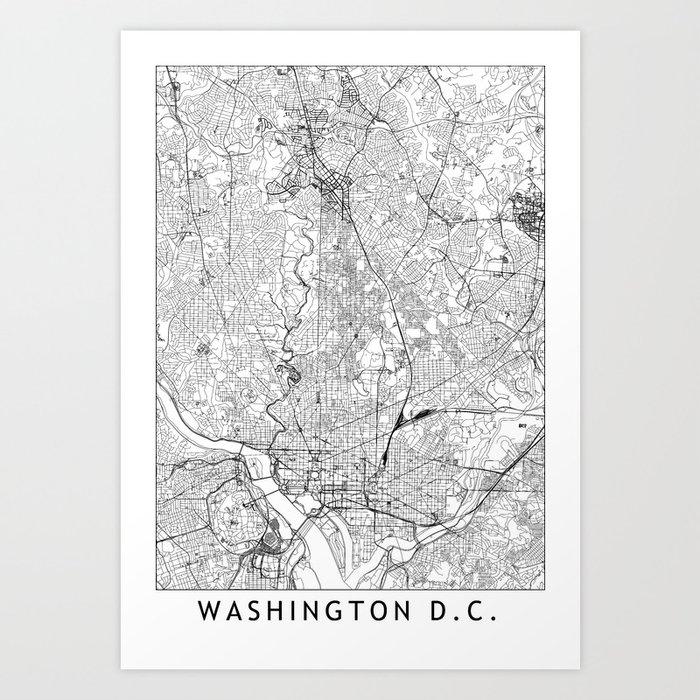 Washington D.C. White Map Kunstdrucke