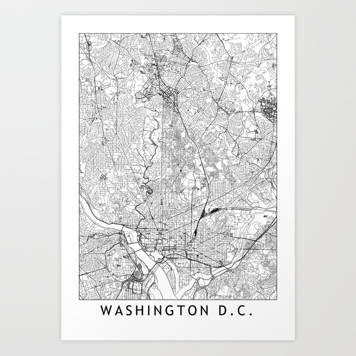 image about Washington Dc Printable Map called Washington D.C. White Map Artwork Print as a result of multiplicity