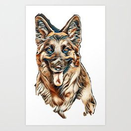 Close-up on a German Shepherd sitting and panting, cut-out        - Image Art Print